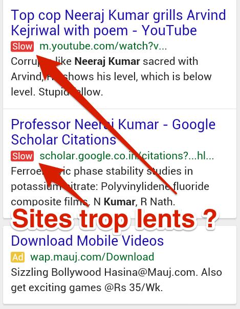 Sites Lents pénalisés à l'affichage