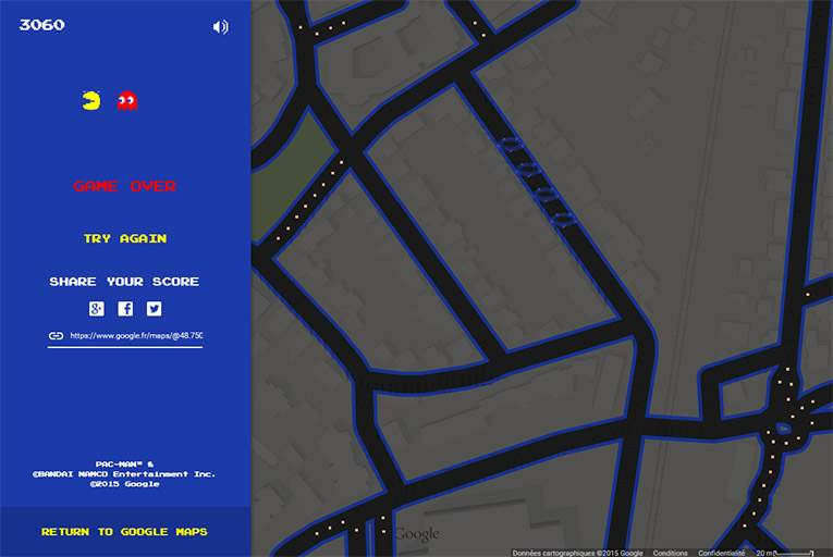 Google Map se transforme en PAC MAN !